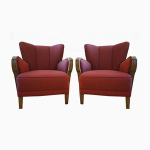 Vintage Danish Cabinetmaker Upholstered Wing Back Easy Chairs, Set of 2