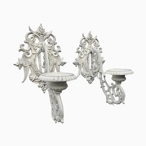 Mid-Century Cast Iron Wall Candleholder Sconces, Set of 2