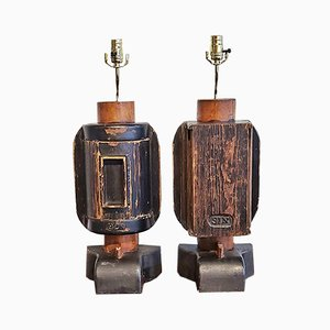 Vintage Industrial Foundry Mold Table Lamps, Set of 2