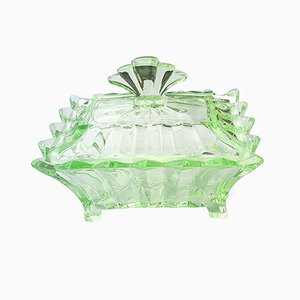 VIntage Uranium Glass Candy Bowl, 1920s