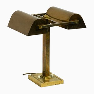 Large Italian Brass Table Lamp with 2 Adjustable Shades, 1950s