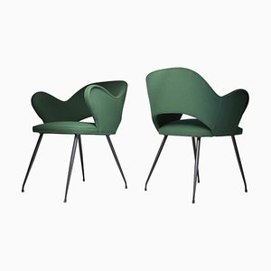 Italian Green Armchairs, 1950s, Set of 2