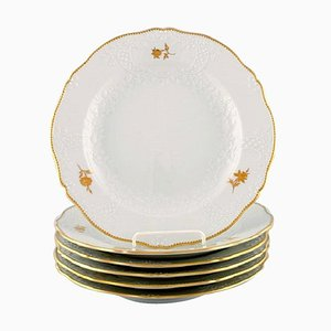 Meissen Porcelain Dinner Plates with Flowers and Foliage in Relief, Set of 6