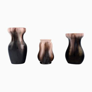 Vases in Glazed Ceramic by Michael Andersen, Denmark, 1950s, Set of 3