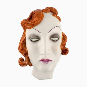 Art Deco Female Face in Hand-Painted Glazed Ceramic, Germany, 1950s