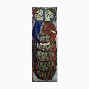 Large Wall Plaque in Glazed Ceramic with a Couple by Michael Andersen, Denmark, 1950s