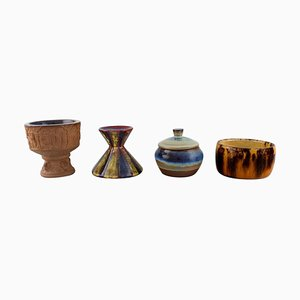 Bowls, Candlestick and Lidded Jar by Michael Andersen, Denmark, 1950s, Set of 4