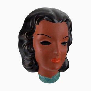 Art Deco Female Face in Hand-Painted Glazed Ceramic from Goldscheider, Austria, 1953