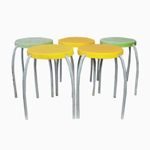 Vintage Yellow and Green Stools from Ikea, 1970s, Set of 5