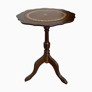 Antique Round Side Table in Solid Wood with Brown Leather Surface