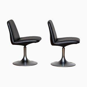 Black Vinga Swivel or Slipper Chairs by Börje Johanson, 1970s, Set of 2