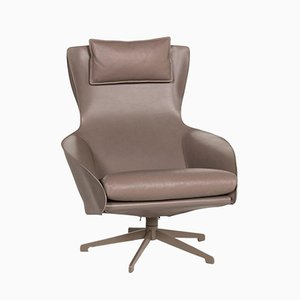 Brown Grey Leather Cab 423 Armchair from Cassina