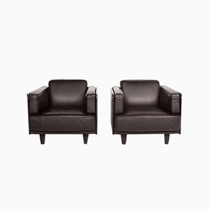 Dark Brown Leather Armchairs from Poltrona Frau, Set of 2