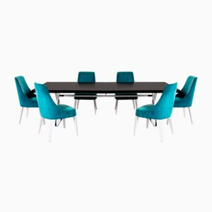 Black Wooden and Metal Dining Table & Velvet Maxalto Chairs by Antonio Citterio for B&B Italia, Set of 7