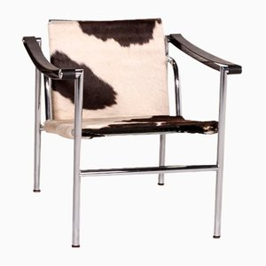 White and Brown Fur & Leather LC1 Armchair by Le Corbusier for Cassina