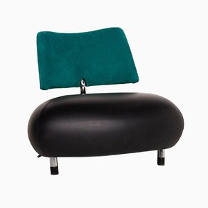 Black and Petrol Alcantara Fabric Pallone Armchair from Leolux