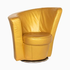 Gold Leather Eves Island Swivel Lounge Chair from Bretz