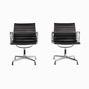 Dark Brown Leather & Aluminium EA 107 Armchairs by Charles & Ray Eames for Vitra, Set of 2