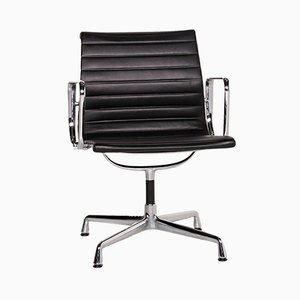 Dark Brown Leather & Aluminium EA 107 Armchair by Charles & Ray Eames for Vitra