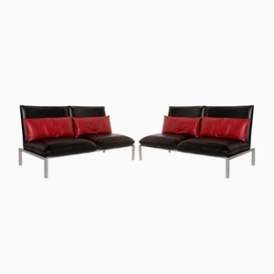 Black Leather Roro 2-Seat Sofas from Brühl & Sippold, Set of 2