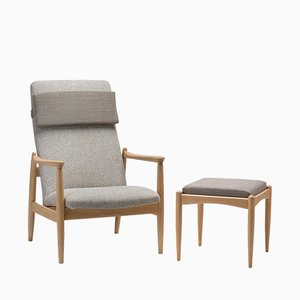 GFM 64 Armchair with Footstool by Edmund Homa, 1960s, Set of 2