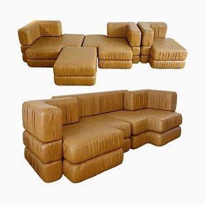 Italian Cognac Leather Modular Sofa, 1970s