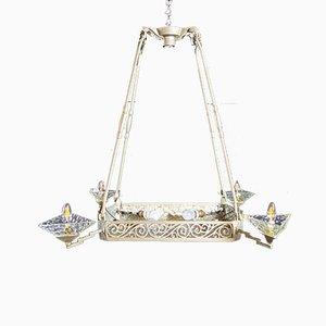 Art Deco Silver Pendant Lamp, 1930s