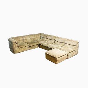 Vintage Velvet Modular Corner Sofa from Rolf Benz, 1970s