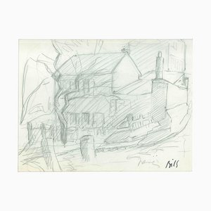 Household - Original Pencil on Paper by Claude Bils - 1950's 20th Century