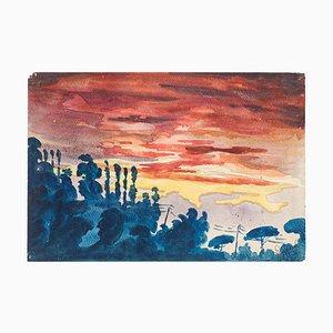Fantastic Landscape - Original Watercolor on Paper by Jean Delpech - 1936 1936