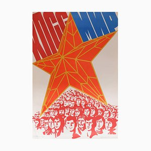 Originales ukrainisches Vintage Propaganda Plakat 'Kommunistische Partei, Frieden' | Russland | 1983