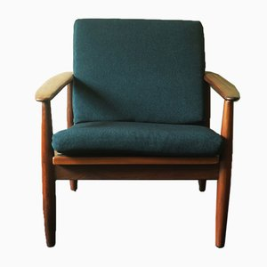 Afrormosia Lounge Chair in Sea Blue Green