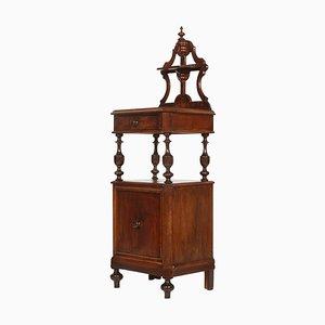 Comodino Luigi Filippo in legno di noce intagliato a mano, XIX secolo