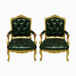 Antique Regency Style Giltwood and Green Leather Armchairs, Set of 2