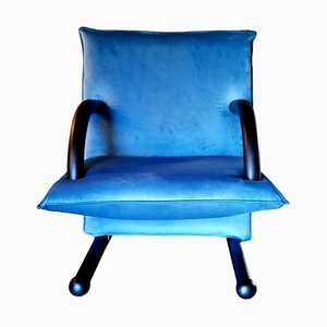 T-Line Blue Lounge Chair by Burkhard Vogtherr for Arflex, 1980s