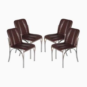 Chromed Steel and Soft Leather Dining Chairs by Gastone Rinaldi, 1960s, Set of 4