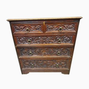 Victorian Gothic Hand-Carved Oak Chest of Drawers