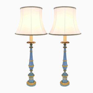 19th Century Candleholder Table Lamps, Set of 2