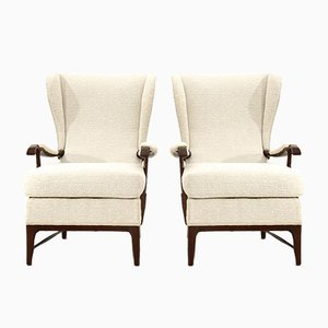 Armchairs in Ivory White Fabric from Framar, 1950s, Set of 2