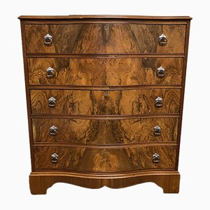 Walnut 5-Drawer Serpentine Chest of Drawers, 1930s