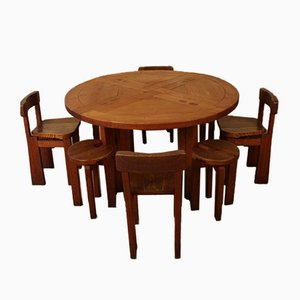 Dining Table & Chairs Set, 1950s, Set of 9