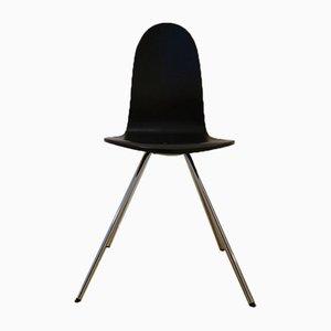 Sedia da pranzo Tongue Mid-Century nera di Arne Jacobsen per Fritz Hansen