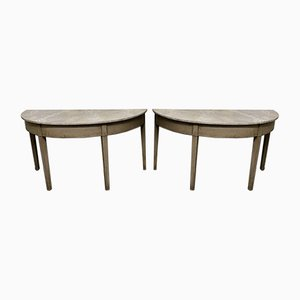 Georgian Painted Demi Lune Console Tables with Faux Marble Tops