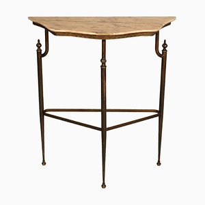 Console Table in Burnished Brass with Pink Marble Top, 1920s