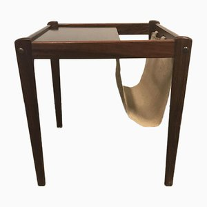 Mid-Century Danish Rosewood Side Table with Magazine Holder from BRDR Furbo, 1960s