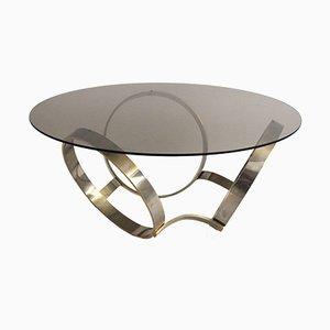 Mesa de centro de vidrio ahumado con base de metal, años 70