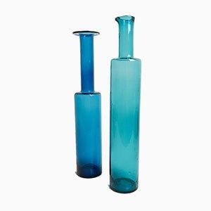 Finnische Mid-Century Flaschen aus Kunstglas von Nanny Still für Riihimäki / Riihimäen Lasi Oy, 2er Set