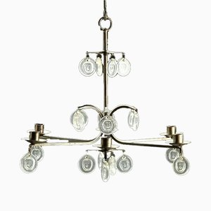 Mid-Century Iron and Glass Chandelier by Erik Höglund