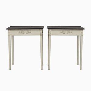 Antique Side Tables in Ash Blond, Set of 2