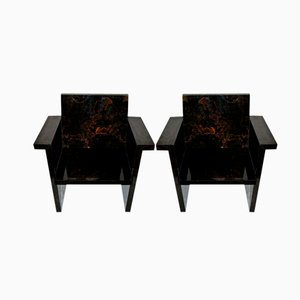 Imitation Marble Formica Armchairs, 1970s, Set of 2